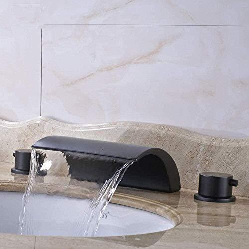 Clásico Bronce Negro Interruptor de agua fría y caliente Grifos de lavabo de doble manija Grifo de baño Caño de cascada generalizado
