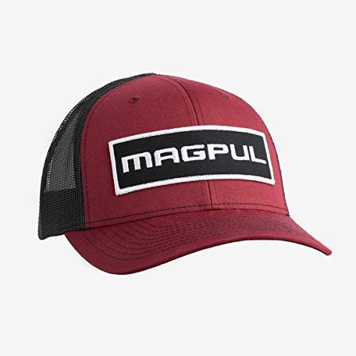 Magpul Unisex Trucker Hat Snapback Baseball Cap Baseball Cap, Herren, Wordmark Patch Trucker Hat Cardinal/Black, MAGHAT, Woodmark Aufnäher Cardinal/Schwarz, Einheitsgröße
