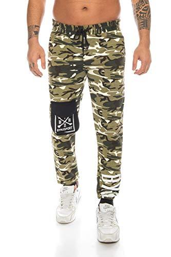 Raff&Taff Cannabis - Pantalones de deporte para hombre, diseño de camuflaje, color negro, XXL verde oliva (1001). S