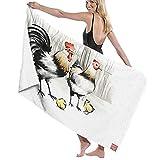 TISAGUER Toalla de baño Tinta de Arte Blanco y Negro de Granja pintando Dos Pollos Grandes y Dos Pollitos Suave Hoja de baño de para el hogar,los baños,la Piscina Toallas Baño Toalla de Playa