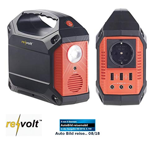 reVolt Powerstation: Powerbank & Solar-Konverter, 42 Ah, 155 Wh, 230 V, 12 V, USB, 180 Watt (Powerstation Solar)