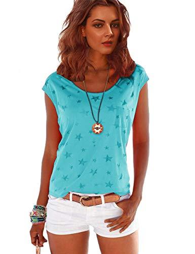 TrendiMax Damen T-Shirt Kurzarm Locker Bluse Lässiges Sommer Shirt mit Allover-Sternen Druck - Blau - S