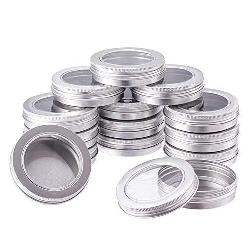 BENECREAT 14 Pots de 100 ML en Aluminium, bocaux en Aluminium Ronds, contenants cosmétiques avec Couvercle à Visser pour Bricolage Artisanal Salve Candle-Platine