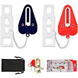 Upgraded Portable Door Lock,Travel Lock, Add Extra Locks for Additional Safety and Privacy Lock Down for School, Airbnb, Home,Hotel(Set of 2)
