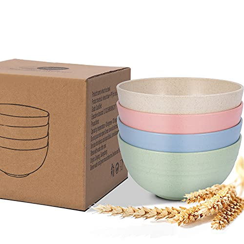 LinTimes Unbreakable Cereal Bowl, Lightweight and Eco-Friendly Wheat Straw Bowl, Drop-Proof Grain Bowl Pasta Bowl Salad Bowl Fruit Snack Bowl Sets 4, Microwave and Dishwasher Safe, 6 inch