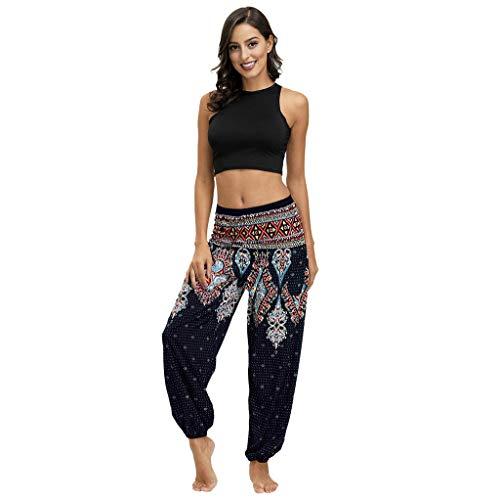 OIKAY African Clothing Yoga Pants Turban Women's Casual Summer Loose Yoga Pants Baggy Boho Aladdin Overall Harem Pants Oriental(YB Dunkelblau,Einheitsgröße)