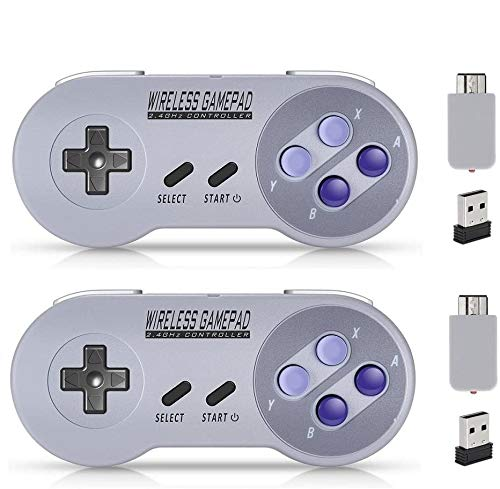 Wireless Controller for Mini SNES Classic Edition/NES Classic Edition, Gamepad with USB Wireless Receiver Compatible with Switch, Windows,iOS,Liunx,Android Device (2 Packs) by ipremium