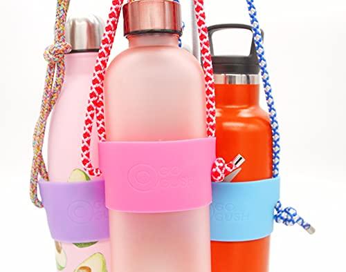 Gogush - Cadena para botella de agua, cordón para el hombro, para la mayoría de marcas y modelos de 500 ml hasta 1 litro, soporte universal para botellas (floral/lavanda)