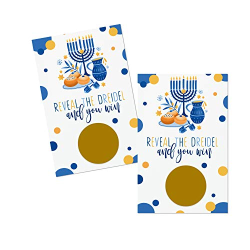 Hanukkah Scratch Off Card Game (30 Pack) Reveal The Dreidel to Win – Holiday Raffle Tickets – Fun for Family, Groups, Children - Blue and Gold Party Supplies