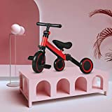 3 in 1 Kids Tricycles for 1-4 Years Old, 90° Handlebar Adjustment Kids