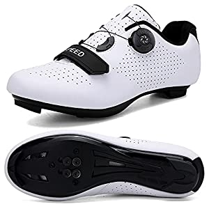 CENGYOO Men's Road Bike Shoes(Included Look Cleats) Women's Indoor Cycling Exercise Shoes Compatible with SPD/SPD-SL Look Cleats for Women Lock Pedal Bike Shoes White