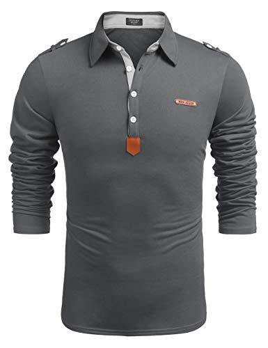 COOFANDY Herren Poloshirt Polo Hemd Langarm Stehkragen mit Buttons Freizeit Causal Basic Regular Fit Bügelfrei Langarmshirt Für Männer Dunkel Grau M