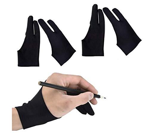 二本指グローブ 二本指 手袋 防汚 通気性 快適 グローブ ライクラ繊維 お絵描き手袋 タブレット 左利き 右利き 便利 通用 フリーサイズ iPad グローブ 液晶ペン タブレット用 対応 超軽量 男女兼用 ブラック 4枚入り