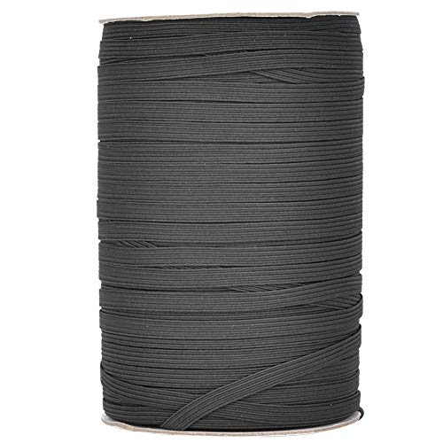 Elastische spoel, 200 meter 6 mm breedte Briaded elastische band Elastisch koord voor doe-het-zelfkleding Kleding Tailleband Sprei Manchet(Zwart)