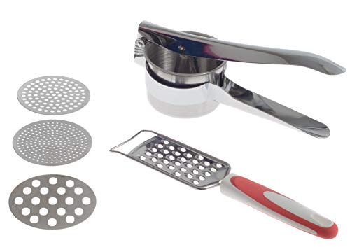 Zujara Potato Ricer Masher Set with Grater in Stainless Steel with 3 Interchangeable Disks, also use as  Fruit Press,  Baby Food maker, for Vegetable or Cauliflower Puree, Gnocchi and Spaetzle