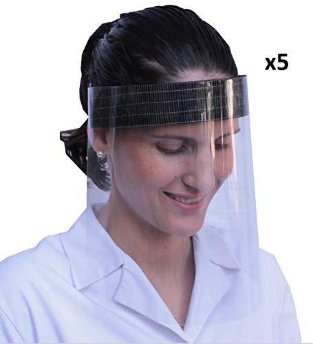 Pack de 5 viseras de protección facial pensadas para proteger la boca, naríz, ojos y cara de cualquier contacto o salpicadura. Es una protección fiable contra la transmisión de gotas a través del aire. Material resistente y desinfectable. Se puede vo...