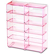 byAlegory Acrylic Compact Makeup Organizer Designed For Larger Compacts 10 Space Side by Side Storage Designed To Stand Or Lay Flat - Pink Clear
