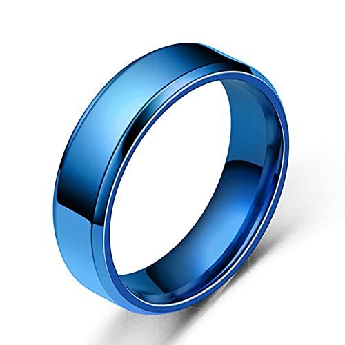 Hislaves Anillo de acero inoxidable para hombre, ancho y simple y exquisito, joyería de moda para cumpleaños, compromiso, citas azul*US 9
