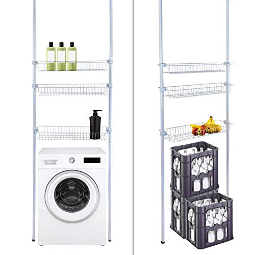 ONVAYA® - Estantería para cuarto de baño, color blanco, para ahorrar espacio, fijación sobre la lavadora