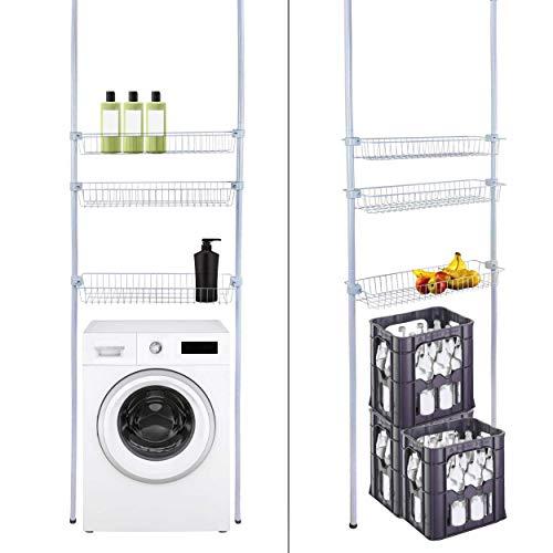 ONVAYA® Badezimmerregal hellgrau | Teleskopregal zur platzsparenden Befestigung über der Waschmaschine | Toilettenregal | Überbauregal
