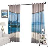 YUAZHOQI - Juego de cortinas opacas para dormitorio (132 x 213 cm), diseño de arquitecto contemporáneo, color blanco y azul