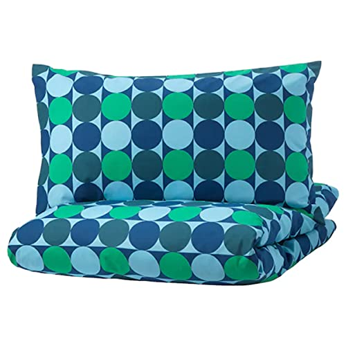 Ikea KROKUSLILJA - Copripiumino matrimoniale e federa, 200 x 220 cm, colore: Blu e Verde