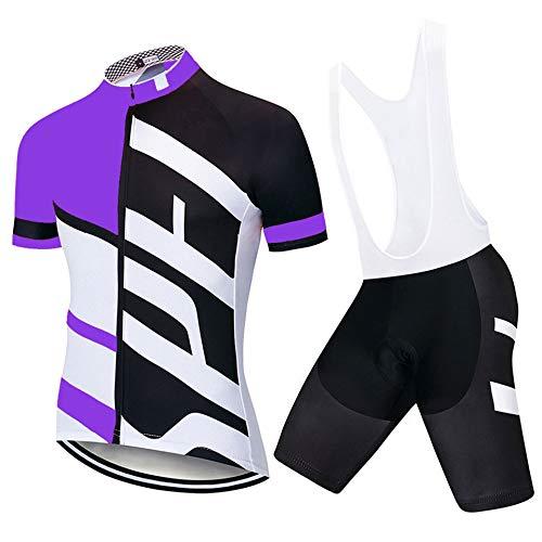 Ccsluo Männer Jersey-Klagen, Mountain Road Bike Riding Tops und Shorts, atmungsaktiv und schnell trocknend Sportswea,Lila,XXXXL