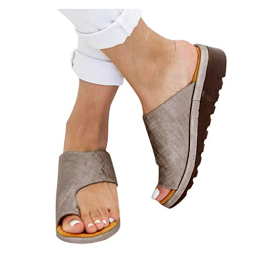HROIJSL damen hausschuhe Frauen Open Toe Flache Pantoffeln Anti Rutsch Dusche Badeschuhe Hallux Valgus Unterstützung Plattform Sandale Schuhe Für Bunion Correct Modern Sommer Freizeit (1Gray, 38)