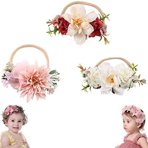 3 Uds Diadema De Flores Rosas para Niños, Accesorios para El Cabello para Bebés, Pieza De Cabeza Ajustable, Accesorios para Fotos De Fiesta De Boda, Guirnalda