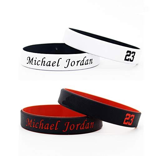 Lorh's store Estrella de Baloncesto Firma Color Doble abanicos muñequeras Deporte Absorbe Sudor Pulsera de Silicona 4 Piezas (Michael Jordan)