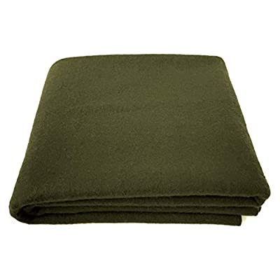 "EKTOS 90% Wool Blanket, Olive Green, Warm & Heavy 4.0 lbs, Large Washable 66""x90"" Size, Perfect for Outdoor Camping, Survival & Emergency Preparedness Use"