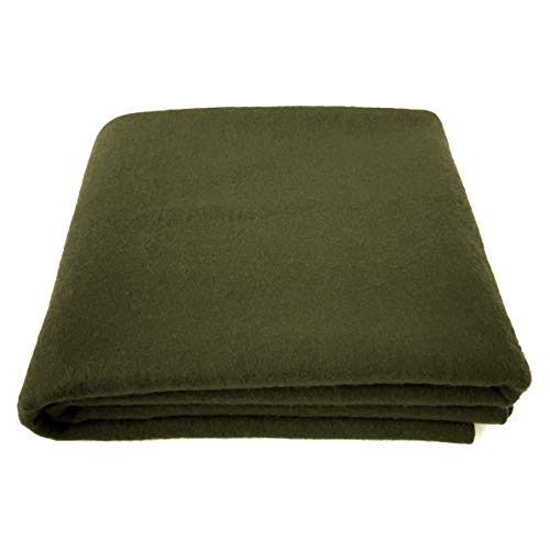 EKTOS 90% Wool Blanket, Olive Green, Warm & Heavy 4.0 lbs, Large Washable 66'x90' Size, Perfect for Outdoor Camping, Survival & Emergency Preparedness Use
