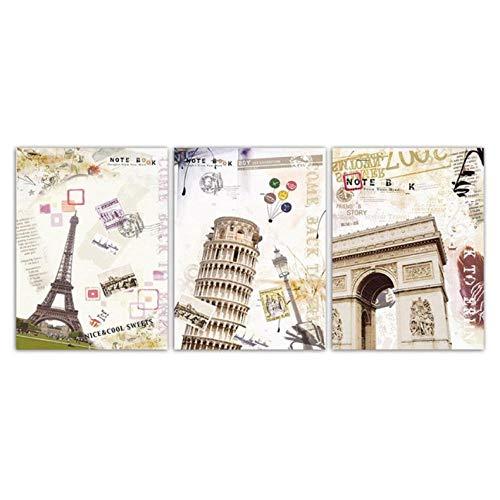 ARTTONIT Edificio nórdico póster Dormitorio Impresiones Arco de Triunfo parís imágenes Torre Inclinada de Pisa Lienzo Arte de la Pared Pintura decoración del hogar 40x60cmx3 sin Marco