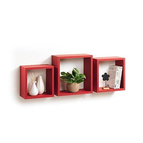 Modul'Home 6RAN789BC - Mensole a cubo, in MDF, 11,8 x 30 x 30 cm, pannello MDF, rosso, 3 taglie 23 cm/26,5 cm/30 cm, 2 Unità