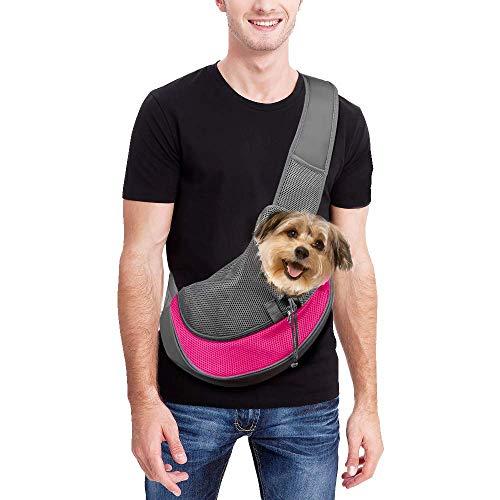 Achort, marsupio per animali domestici, con tracolla a tracolla per cani e gatti, con sacchetto in rete traspirante, per viaggi all'aperto, passeggiate, metropolitana, 5,4 kg (rosso rosa)