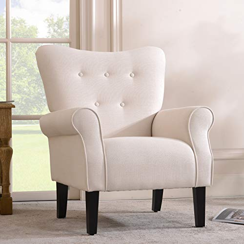 Merax Modern Upholstered Accent Chair Armchair for Bedroom, Living Room or Office, Linen, Including Thick Cushion and Wooden Legs, Ivory