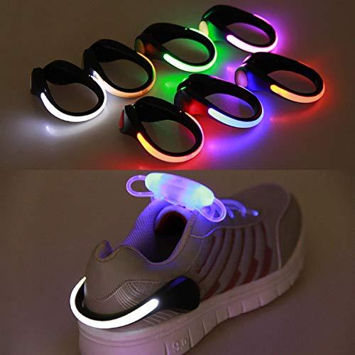 Luces LED de clip para zapatos para correr por la noche, cambio de color RGB estroboscópico y modo de flash de color constante, luces reflectantes de seguridad para caminar por la noche (naranja)