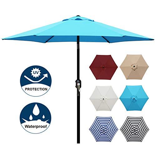 Blissun 7.5 ft Patio Umbrella, Yard Umbrella Push Button Tilt Crank (Light Blue)
