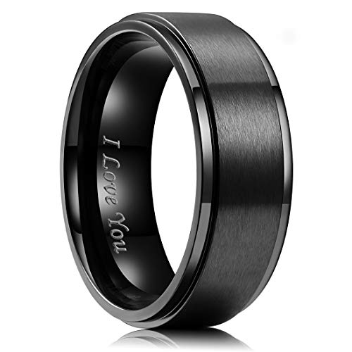 King Will Men 8mm Black Matte Brushed Stainless Steel Ring Stepped Beveled Edge Laser Etched I Love You 11