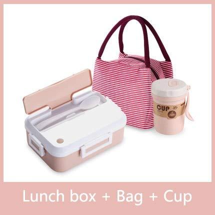 Bruce Dillon Auslaufsicherer tragbarer Lebensmittelbehälter mit Geschirrbecher Büroschule Wandercamping Kindergesundheit Lunchbox - Rosa dreiteilig,