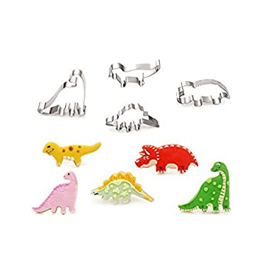 OKUBOX AB01 4pcs Stainless Steel Jurassic Park Dinosaur Cookie Cutter Mold Cake Fondant Biscuit Baking Tool Set