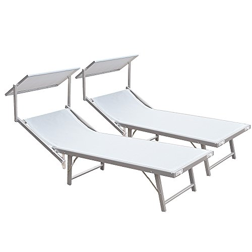 x2 Lettino mare bianco stabilimento spiaggia alluminio 183x38x61 sdraio 780/54B