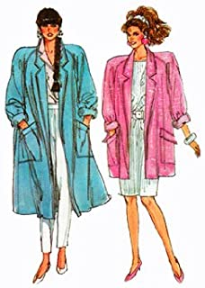 1980s Misses Trench Coat Sewing Pattern Raglan Sleeves 2 Lengths 36-38 Bust UNCUT FACTORY FOLDED Simplicity 7898
