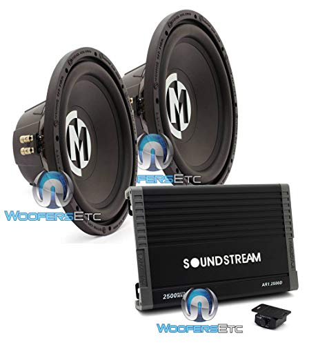 "pkg Pair of Memphis 15-SRX12D4 12"" 500W RMS Dual 4-Ohm Street Reference Subwoofer + Soundstream AR1.2500D Monoblock 2500W Class D Amplifier"