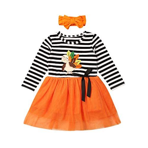 Peuter Baby Outfits Kids Meisjes Pompoen Turkije Kerstman Print Lange mouwen Jurk Gestreepte Rokken Herfst Winter Kleding