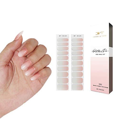 Danni&Toni Semi Cured Gel Nail Stickers Gel Nail Polish Strips/Wraps Glaze Nail (20 Stickers)