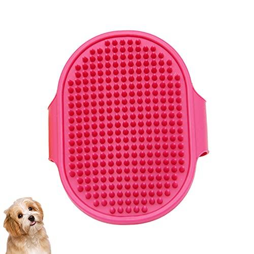 Danaba, spazzola per la toelettatura del cane, massaggiante in gomma, spazzola per il bagno degli animali domestici, manico regolabile, adatto per animali domestici a pelo lungo e corto (rosso)