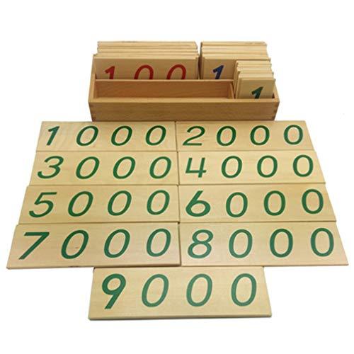 Tomaibaby 1 Satz Hölzerne Zahlenkarte Montessori 1-9000 Zahlen Hölzerne Lernspiele