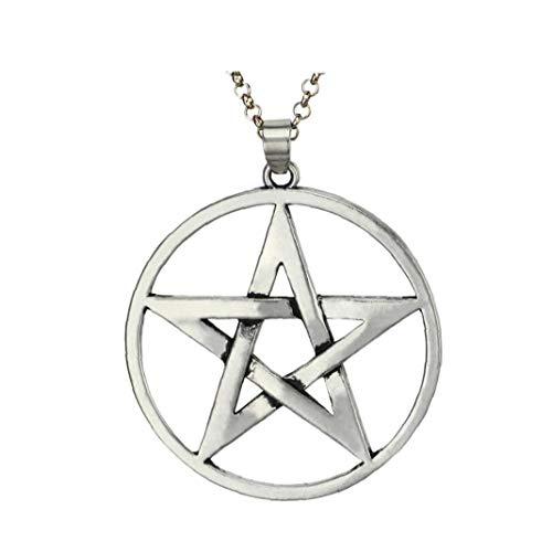 Hiinice Los Hombres De Acero Inoxidable Collar De Plata del Tono Pentagram Estrella Colgante del Cuello La Cadena De Artículos Personales