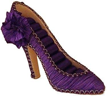 kris doll display Fashion Dress Shoe Ring Jewelry Holder Organizer High Heel Purple product image
